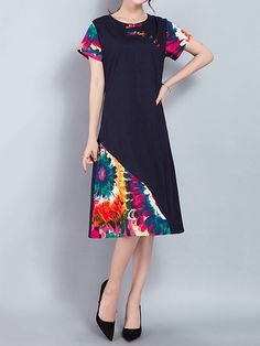 Print Folk Frog Button Short Sleeve Women Dresses is high-quality, see other cheap summer dresses on NewChic. Cheap Summer Dresses, Simple Dresses, Cute Dresses, Casual Dresses, Short Dresses, Unique Fashion, Fashion Design, Latest Fashion, Fashion Trends