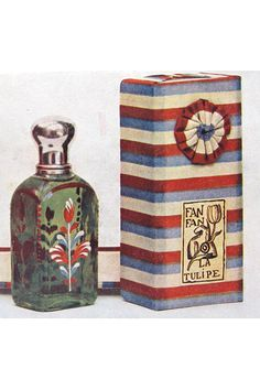 """In 1911, French clothing designer Paul Poiret was the first designer to expand into fragrances. His """"Fanfan La Tulipe"""" was introduced in 1912, and the bottle as based on an 18th-century model."""