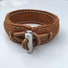 Leder armband handmade rvs yakleather