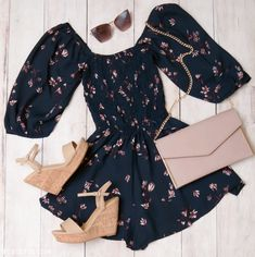 Summer Outfit Inspo- Summer Romper Outfit Ideas, Cute Summer Outfits, Rompers, Off The Shoulder Rompers, Cute Floral Rompers, Floral Off The Shoulder Romper, Navy Blue, Styled Outfits, Personal Stylist, Layouts, Summer Outfits Layouts, Wedges, Rompers with Wedges, Cute Summer Wedges, Trending Summer Outfits, Summer Looks, How To Style a Romper, How to Style Wedges, Trending Wedges