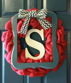 Red Burlap Wreaths | SALE Spring Wreath Framed Red Burlap Wreath with Chevron Burlap Bow ...