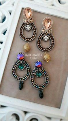 Soutache earrings Beaded Brooch, Beaded Earrings, Earrings Handmade, Beaded Jewelry, Handmade Jewelry, Denim Earrings, Funky Earrings, Leather Earrings, Soutache Necklace