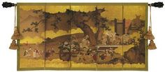 """$389.99  Gods of Good Fortune large Oriental Landscape Wall Tapestry 102"""" x 53"""" 2411-WH featuring traditional oriental scroll art in aged golds and earthy tones. http://www.delectably-yours.com/Old-World-Tapestries-C541.aspx"""