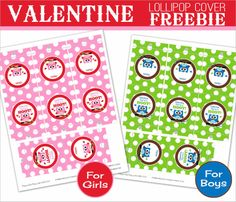 Amanda's Parties TO GO: FREE Valentines Favor - Lollipop Cover