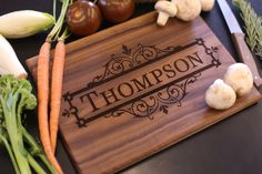 Personalized Cutting Board Christmas Gift Bridal Shower Gift Wedding Gift Engraved (Item Number MHD20020) by braggingbags on Etsy https://www.etsy.com/listing/201093039/personalized-cutting-board-christmas