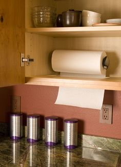 Paper towels are hidden, yet accessible