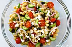 GREEK PASTA SALAD WITH RED WINE VINAIGRETTE -  Embrace the crisp, cool allure of this Greek Pasta Salad with Red Wine Vinaigrette.