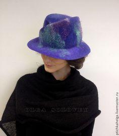 Купить шляпа валяная ЛАВАНДА - тёмно-фиолетовый, шляпка валяная, флис, женская шляпа, войлок