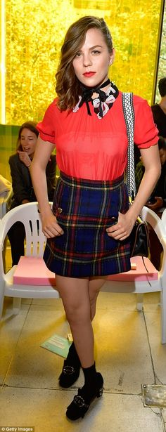 Check her out! French-Polish actress Morgane Polanski stunned in her check mini skirt...