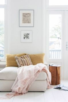 mustard pillows and pink blanket from nienke hoogvlie. / sfgirlbybay