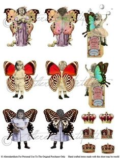 Instant Download Fairy Front Back Puppet Digital Collage Sheet Fairies