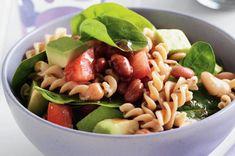 Avocado and four bean pasta salad