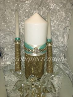 Unity Candle Set 3pc spa blue and ivory weddings. Bride and