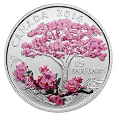 Canada 15 Dollars Silver Coloured Coin 2016 Celebration of Spring: Cherry Blossoms