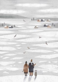 n a s t i a s l e p t s o v a, illustration, iceland, christmas, snow, winter, colour, design, drawing, collage
