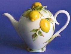 Lemon Design - Sculptured porcelain teapot    8 1/2L x 4 3/4W x 6 1/4H