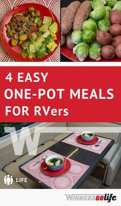 You'll love these one-pot recipes perfect for cooking in an RV kitchen and simplifying RV life meals. Living full-time in an RV has its challenges, so let these full-time RVers help you with their ideas, resources, and gear suggestions. Healthy One Pot Meals, Easy One Pot Meals, Healthy Recipes, Camping Dishes, Camping Meals, Camping Recipes, Camping Cooking, Outdoor Cooking, Vegetarian Camping