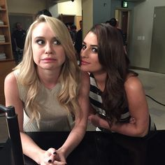 Becca Tobin and Lea Michele on the last night of Glee
