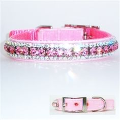 This pretty girl dog collar is created in Swiss velvet and crystal for the ultimate Bling!