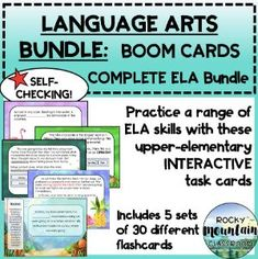 Boom Cards - FULL LANGUAGE ARTS Bundle (entire store) Fact And Opinion, Authors Purpose, Vocabulary Building, Context Clues, Idioms, Upper Elementary, Deck Of Cards, Task Cards, Language Arts