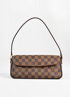"Louis Vuitton Brown Tan Coated Canvas 'Damier Ebene"" Flap ""Recoleta"" Bag"