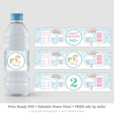 6c8c9209dd Blue Unicorn Water Bottle Label Template, Personalized Mint and Pink Bottle  Label, Magical Birthday Rainbow Label, INSTANT DOWNLOAD UBS1