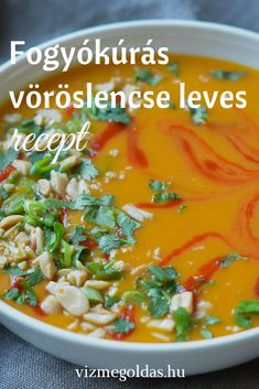 Fogyókúrás receptek - Fogyókúrás vöröslencse leves recept sárgarépával, almával és édes burgonyával Soup Recipes, Diet Recipes, Cooking Recipes, Healthy Recipes, Clean Eating Recipes, Healthy Eating, Good Food, Yummy Food, Healthy Food Options