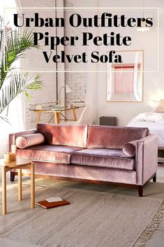 All-in-1 velvet sofa and bolster pillow set for a luxe take on midcentury-modern we love. Two-seater sofa comes in soft-sheen velvet with clean lines, four removable cushions + espresso-stained maple wood legs. #midcenturymodernsofa #twoseatersofa #velvetsofa #affiliate