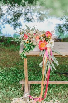colorful flowers and ribbons