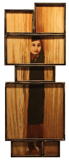 "Judith Kindler, Not Afraid, 2012, Mixed Media on 7 panels, 67"" X 25"""
