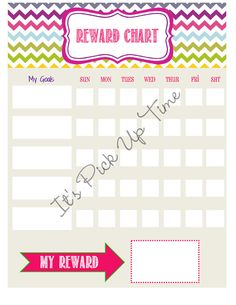 Reward Chart for kids! Great as a sticker chart too.