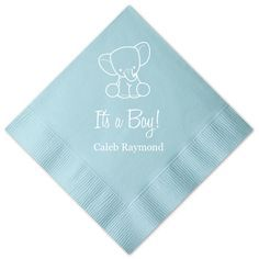 It's a Boy - Elephant Personalized Baby Shower Napkins -   - Pink Poppy Party Shoppe - 1