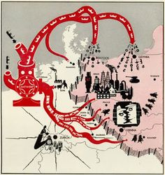 """The Propaganda map above was taken from Life magazine issue January 26, 1953. The map was use to show the the danger of Western Europeans collaborating in with """"East European communists"""" during the Cold War. The red creature on the map is pumping military supplies from the West into Eastern Europe, whom are the """"Communist East Germany"""". This map was intended to bring fear upon the community and hate towards the Eastern Europeans."""