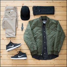 """#Outfitgrid by @jaybeezishangintough featuring: Stussy bomber jacket, Norse Projects shirt and chinos, Nike Flyknit Chukkas, Raised by Wolves cap and…"""