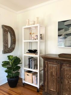A fig plant warms up the industrial edge of the modern book case and giant D for Diamond in our living room.