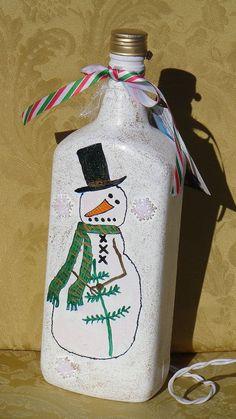 Hand-Painted Lighted Snowmanl Bottle #5 #Imadethis