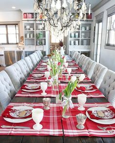 Our double birthday celebration today! 12 for dinner with the table all red and white. Placemats are dish towels from @williamssonoma, snowflake glass salad plates from @crateandbarrel, red polka dot napkins from @potterybarn and silver votives from @anthropologie. ✧  # christmasdecor #interiorinspo #christmas #christmastime #kitchendesign