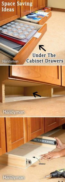 Add More Storage Space in the Kitchen with Under-Cabinet Drawers. Finding storage areas in any room always makes a space look bigger. Look under your kitchen cabinet drawers and add more storage for all of your cooking needs. via familyhandyman. Cocina Diy, Kitchen Redo, Kitchen Small, Kitchen Pantry, Kitchen Drawers, Space Saving Kitchen, Ikea Kitchen, Messy Kitchen, Kitchen Styling