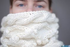 Luxury off-white hand knit cowl winter fashion accessory - silk-wool-cashmere on Etsy, $85.71 AUD