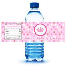 Printable Personalized Princess Water Bottle Labels Wrappers - Birthday Party Baby Shower Girl Fairy Pink Custom Photo Polka Dots Wraps. $8.00, via Etsy.