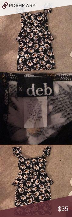 Daisy Peplum Dress Super cute daisy peplum dress from DEB. Has built in bra pads. No trades. Offers welcome. Deb Dresses Mini