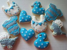Baby Boy MINI Cookies by Just4YouTreats on Etsy https://www.etsy.com/listing/129476519/baby-boy-mini-cookies