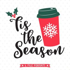 Red Cup Season Christmas SVG file for Cricut and Silhouette vinyl craft projects as well as scrap booking, card making and Iron on transfer crafts.