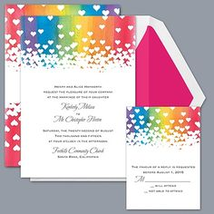 Colorful Rainbow Design Invitation With Heart Silhouette. Find More  Invitations With Nature Inspired Designs. Matching Response, Reception And  Thank Yous.