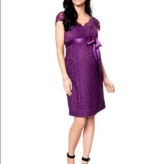 Pea in the Pod Maternity Purple Lace Dress Lace Dress with Satin tie Seraphine Luxe Dresses