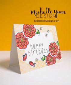 Michelle Y Design - Handmade Birthday Card with Red Flowers #etsy #cardmaking #birthday