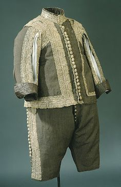 I'm not quite sure what to make of that trim, but I really like the turned satin brocade cuffs.  Suit 1640's, Swedish, Made of wool