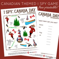 Free Canada Day themed I Spy game for kids Spy Games For Kids, I Spy Games, Craft Kits For Kids, Kids Party Games, Math For Kids, Craft Activities For Kids, Free Games, Geography Worksheets, Worksheets For Kids