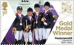 Paralympics Gold Medal Winner stamp - Equestrian Team, Open, Sophie Christiansen, Deb Criddle, Sophie Wells and Lee Pearson. Royal Mail Stamps, Uk Stamps, Postage Stamps, Gold Medal Winners, Team Gb, Show Jumping, Penny Black, Stamp Collecting, Olympic Games
