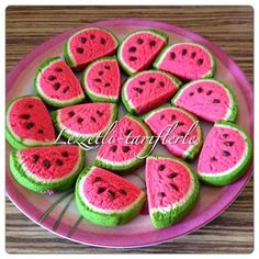 tried flavors, delicious-recipes: watermelon cookies - Healthy Eating Tips, Healthy Drinks, Healthy Nutrition, Watermelon Cookies, Cookies Decorados, Biscuits, Paint Cookies, Tasty, Yummy Food